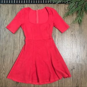 Anthropologie Red Fit & Flare Dress